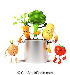 pote, cheio, de, legumes