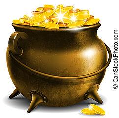 pote, com, moeda ouro