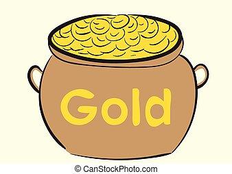 pote, com, ouro