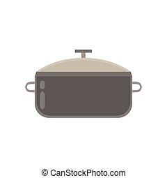 pote, cozinhar, isolado, branca, panela, vetorial, água, ferver, cozinha, aço, fundo, alimento, pretas