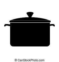 pote, cozinhar, panela, ícone, vetorial