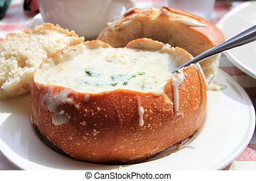pote de la sopa, bread, mejillón