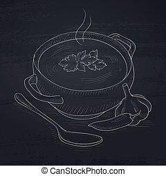 pote, de, quentes, soup.