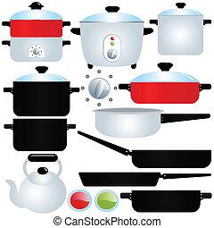 pote, e, panela, utensílios cozinhando