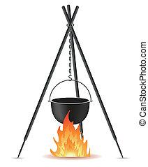 pote, para, cozinhar, sobre, um, fogo, vetorial