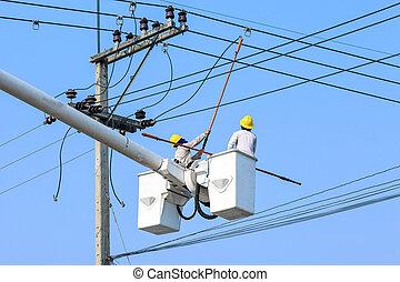 poteau, électricien, électrique, fonctionnement