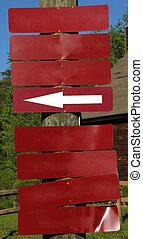 poteau bois, signes, rouges, vide