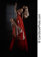 poteau, dance., robe, girl, danse