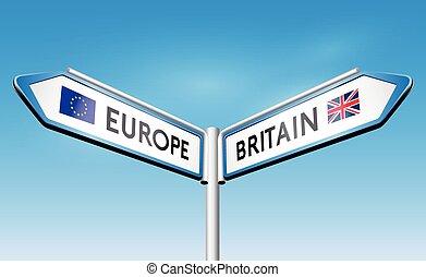 poteau indicateur, brexit, concept, -