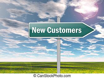 poteau indicateur, clients, nouveau