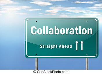 poteau indicateur, collaboration, autoroute