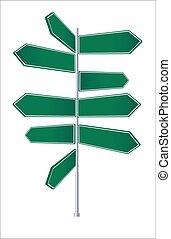poteau indicateur, décisions, manière, ou, perdu, concept, carrefour, confusion