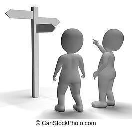 poteau indicateur, projection, ou, caractères, voyager, direction, 3d
