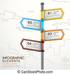 poteau indicateur, résumé, infographics