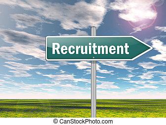 """poteau indicateur, """"recruitment"""""""