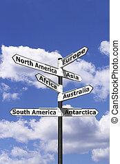 poteau indicateur, sept, continents, vertical