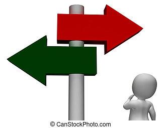 poteau indicateur, spectacles, dilemme, ou, confusion