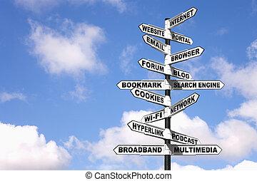 poteau indicateur, terminologie, internet