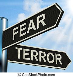 poteau indicateur, terrifié, terreur, peur, effrayé, spectacles
