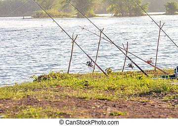 poteau, pêche lac
