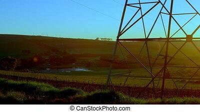 poteau, pendant, coucher soleil, électrique, 4k