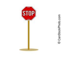 poteau, signe, arrêt