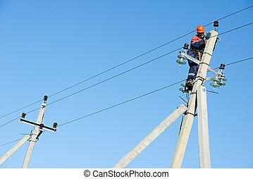 poteau, travail, électricien, ouvrier ligne, puissance