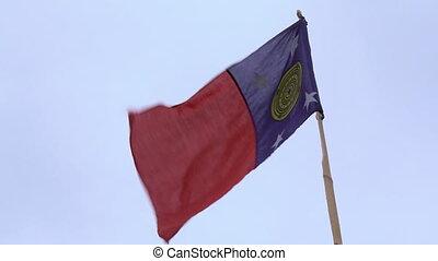 poteau, vent, bambou, drapeau, coutume, onduler