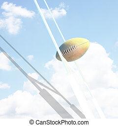 poteaux, balle,  rugby, but, ciel