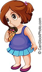 potelé, girl, manger, glace