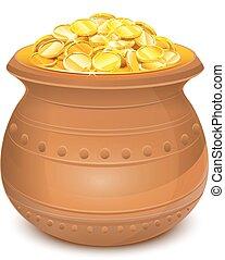 potenciômetro cerâmico, com, moedas ouro