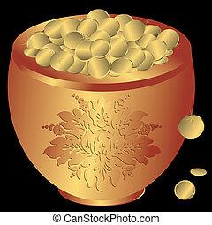 potenciômetro metal, com, moedas ouro, (vector)