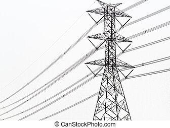 potencia, alto, poste, voltaje, plano de fondo, blanco