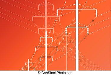 potencia, alto, vector, cuadrícula, voltaje, línea