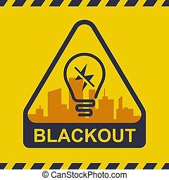 potencia, ciudad, outage., fondo., apagón, icono