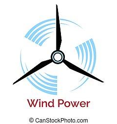 potencia, compañía, elaboración, logotipo, turbina, viento