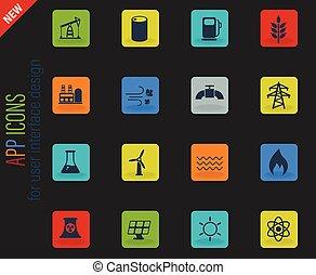 potencia, conjunto, generación, icono