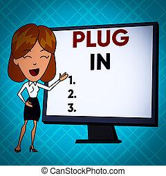 potencia, de conexión, posición, presentation., él, blanco, en., enchufe, texto, actuación, señalar, vuelta, pantalla, poniendo, dispositivo, whiteboard, señal, hembra, foto, blanco, electricidad, conceptual