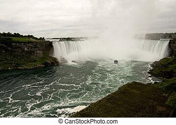 potencia, de, niágara, cascadas, canadiense, lado