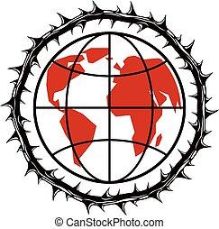 potencia, dictatorship, espina, rodeado, ilustración, planeta, crowns., tema, vector, mal, manipulación, tierra, totalitarismo