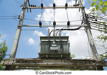 potencia, eléctrico, transformador