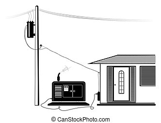 potencia, emergencia, suministro, electricidad, casa, outage...