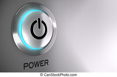 potencia, empujón, activado, botón