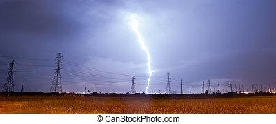 potencia, encima, líneas, tormenta, relámpago, eléctrico, ...
