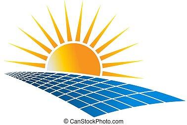 potencia, energía, ilustración, vector, solar, logotipo