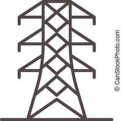 potencia, energía, torre, icono, contorno, estilo