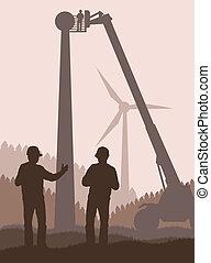 potencia, energía, vector, verde, alternativa, viento
