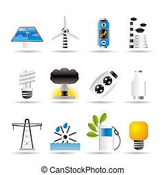 potencia, energía, y, electricidad, iconos