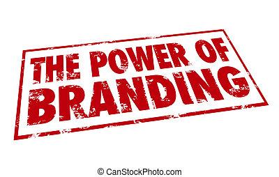 potencia, estampilla, branding, lealtad, identidad, tinta, ...