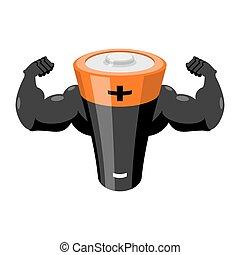 potencia, fuerte, energía, battery., accumulator., fuerte, supply.